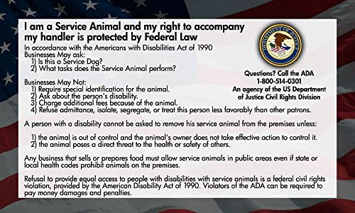 Service Dog Cards - 50 ADA Service Dog Information Cards State Your Rights...