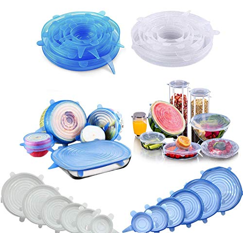 Stretch Lid, CLEYCYE Silicone Stretch Lids - 12pack Reusable Food Saver...