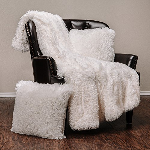 Chanasya Fuzzy Shaggy Faux Fur Throw Blanket and Pillow Cover 3-Piece Set -...