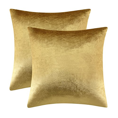 Gold Velvet Decorative Throw Pillow Covers,18x18 Pillow Covers for Couch...
