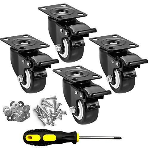 """CLOATFET Caster Wheels, 2"""" Casters with Brake, No Noise Swivel Casters..."""