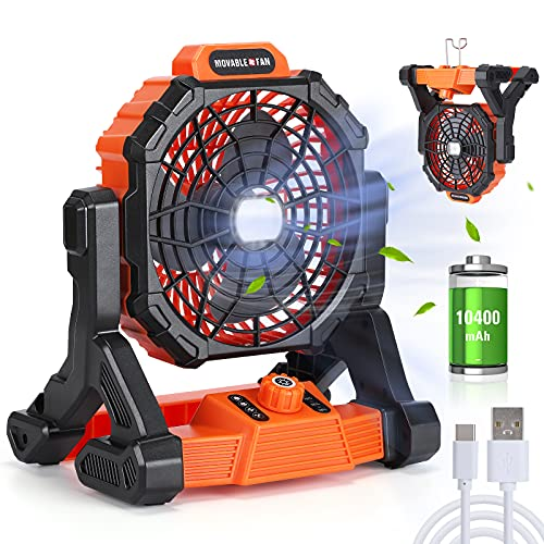 Portable Fan Rechargeable with LED Lantern, 10400mAh 11 inch Battery...