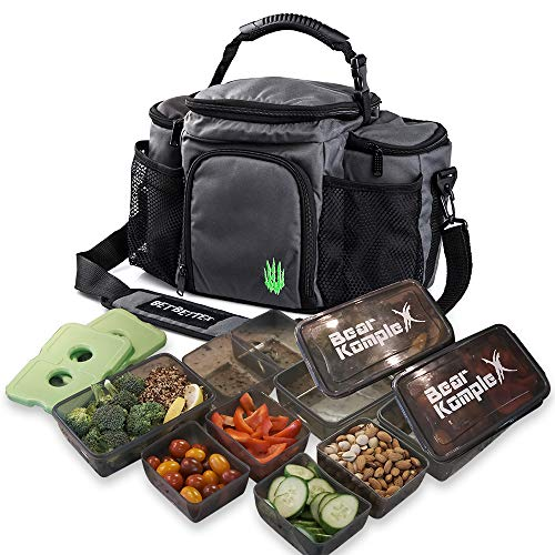 Bear KompleX Insulated Meal Prep Management Lunch Bag, 6 Compartment Lunch...