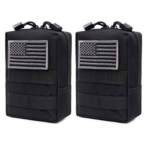 2 Pack Molle Pouches - Tactical Compact Water-Resistant EDC Pouch (Black)