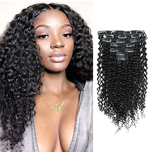Lovrio 9A Grade 3A 3B Jerry Curly Clip in Human Hair Extensions Double Weft...