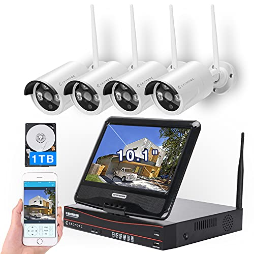 [8CH,Expandable] All in one with 10.1' Monitor Wireless Security Camera...