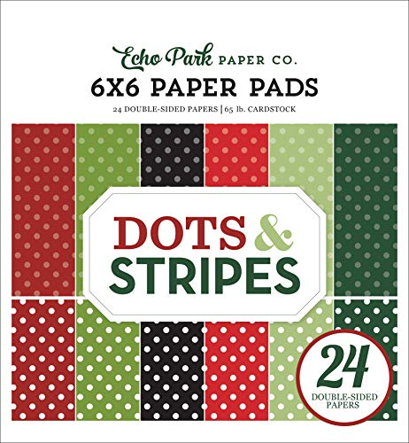 Echo Park Paper Company Dots & Stripes -Christmas 6X6 Paper Pad, red,...