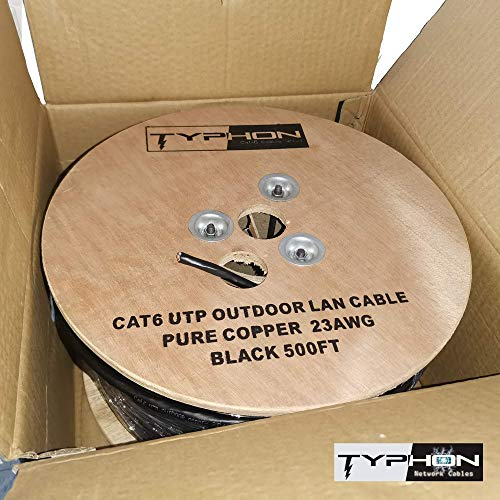 Typhon Cat6 Direct Burial Outdoor Network Cable Solid Pure Copper UTP 23AWG...