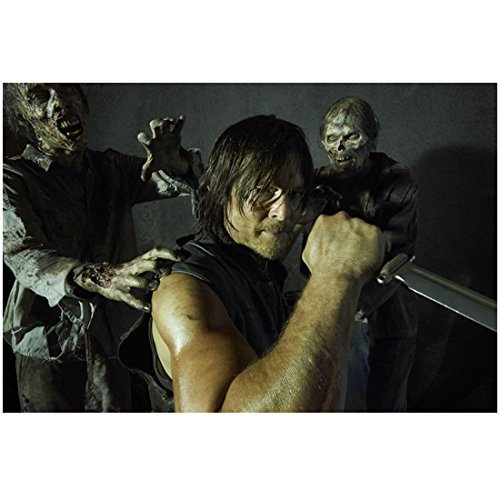 Norman Reedus in The Walking Dead as Daryl Dixon with Knife and Zombies 8 x...