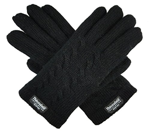 Bruceriver Ladie's Pure Wool Knit Gloves with Thinsulate Lining and Cable...