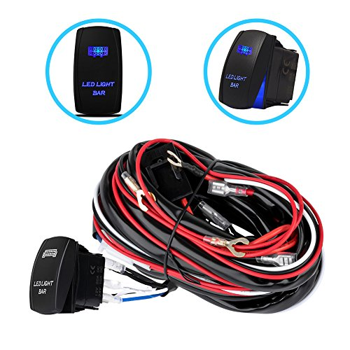 One-To-Two Universal LED Light Bar Wiring Harness Kits 24V/40A Relay ON-OFF...