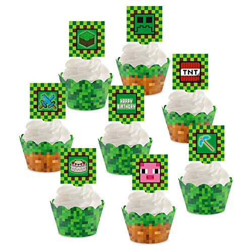Pixel Miner Cupcake Toppers and Wrappers for Game Party Block Game Birthday...
