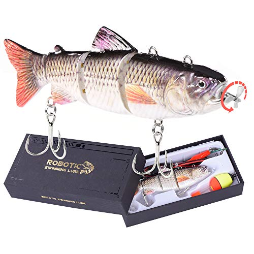Robotic Swimming Fishing Electric Lures 5.12' USB Rechargeable LED Light...