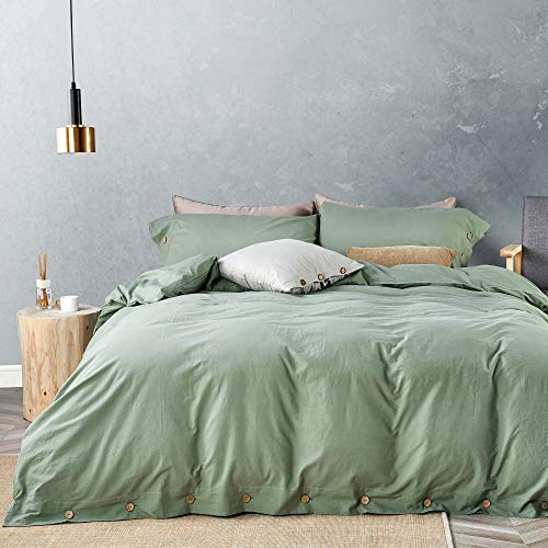 JELLYMONI Green 100% Washed Cotton Duvet Cover Set, 3 Pieces Luxury Soft...