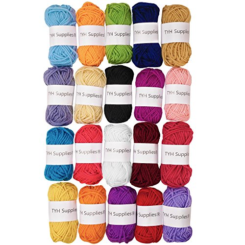 TYH Supplies 20-Pack 22 Yard Acrylic Yarn Assorted Colors Skeins - Perfect...