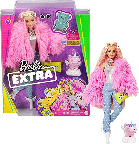 Barbie Extra Doll #3 in Pink Fluffy Coat with Pet Unicorn-Pig, Extra-Long...