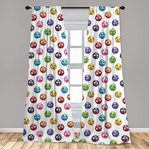 Ambesonne Emoji 2 Panel Curtain Set, Cartoon Faces in Different Colors and...