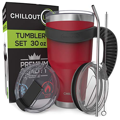 Stainless Steel Travel Mug with Handle 30 oz - 6 Piece Set. Tumbler with...