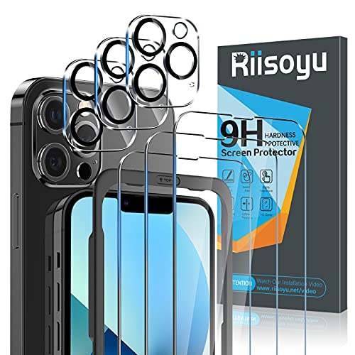 Riisoyu 6 Pack Compatible with iPhone 13 Pro Max Screen Protector, Tempered...