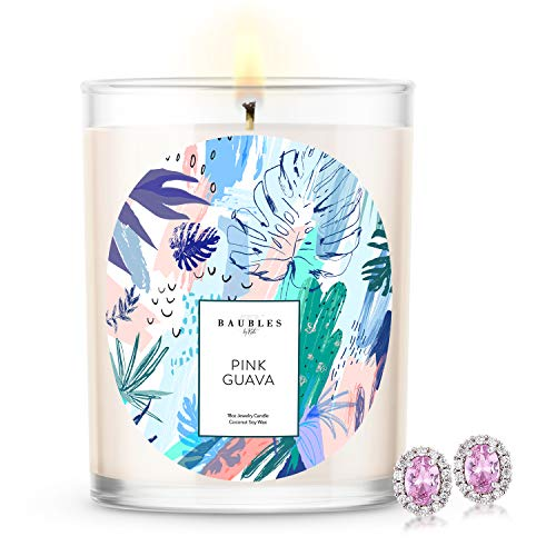 Kate Bissett Baubles Pink Guava Scented Premium Candle and Jewelry with...