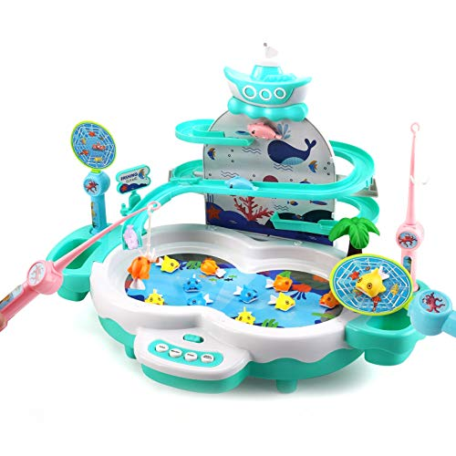 CUTE STONE Fishing Game Toys with Slideway,Electronic Toy Fishing Set with...