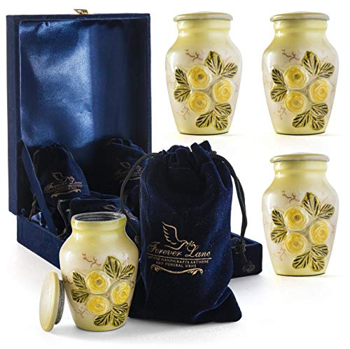 Forever lane Small Keepsake Urn for Human Ashes Yellow Rose Flower, Unique...