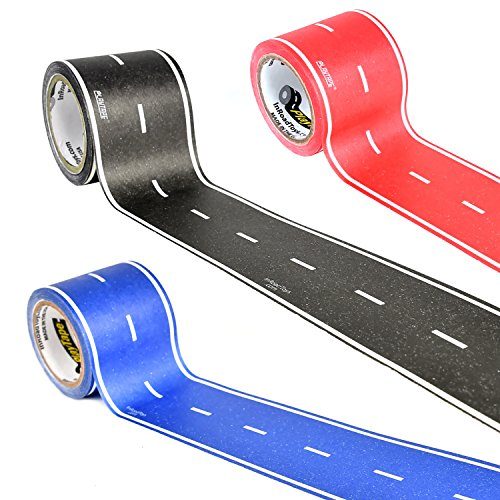 PlayTape in Red, Blue & Black Road 30 Feet by 2 Inches 3 Pack - Road Car...