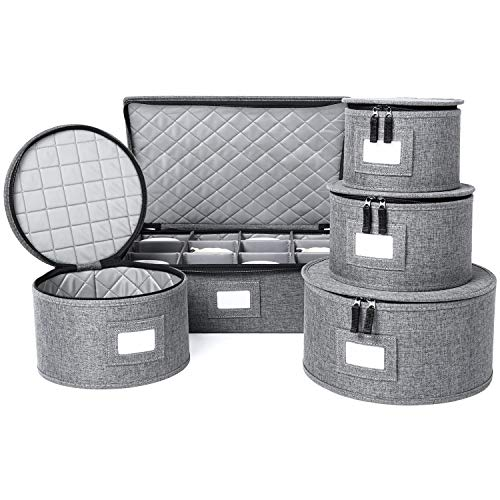 China Storage Set, Hard Shell and Stackable, for Dinnerware Storage and...