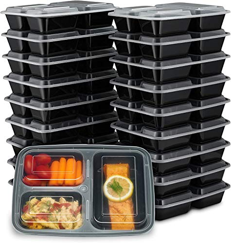EZ Prepa [20 Pack] 32oz 3 Compartment Meal Prep Containers with Lids -...