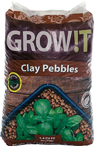 GROW!T GMC40l - 4mm-16mm Clay Pebbles, Brown, (40 Liter Bag) - Made from...