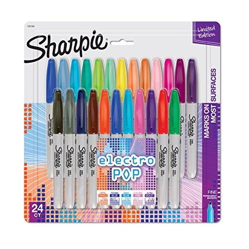 Sharpie 1927350 Electro Pop Permanent Markers, Fine Point, Assorted Colors,...