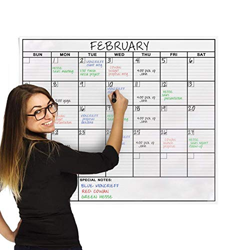 Dry Erase Laminated Jumbo Wall Calendar, Huge 24-inch by36-Inch Size,...