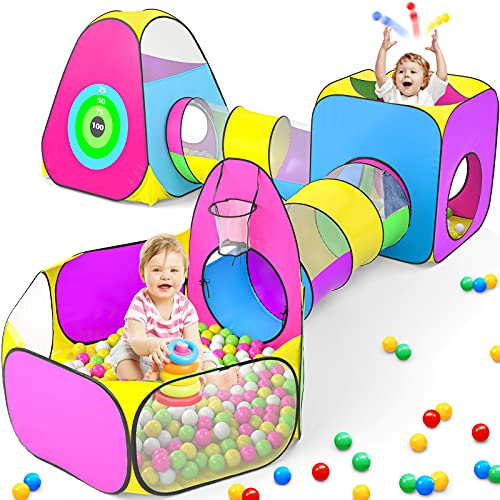 5pc Kids Play Tent for Toddler with 1 Baby Ball Pits, 2 Baby Crawl Tunnels,...