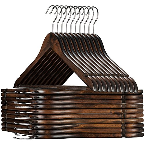High-Grade Wooden Suit Hangers 20 Pack with Non Slip Pants Bar - Smooth...