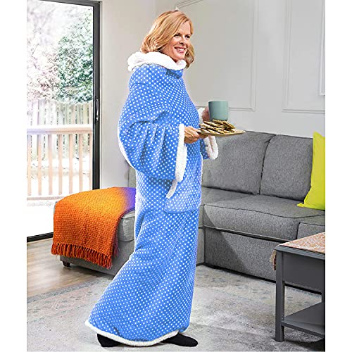 CozyRosie Wearable Sherpa Fleece Blanket with Sleeves for Adults Allows You...