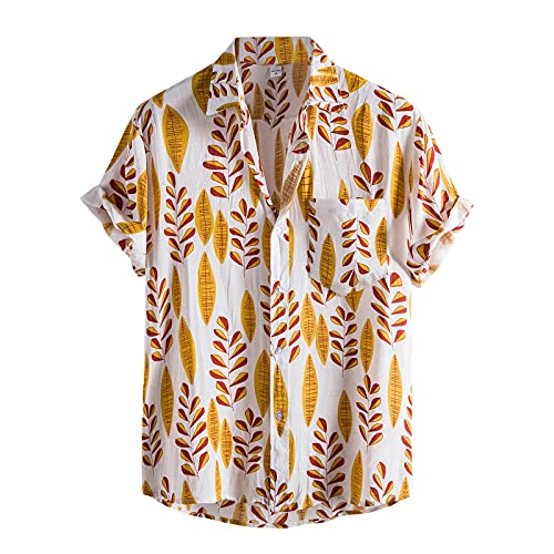 Blouse for Men Colorful Leaves Print Turn Down Collar Buttons Beach Short...