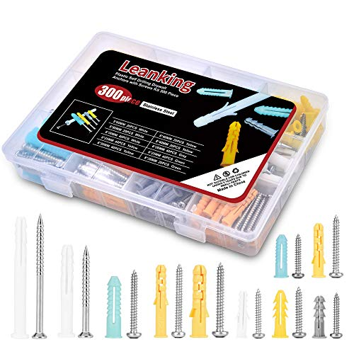 Plastic Drywall Wall Anchors Screw Assortment Kit 300 Pieces