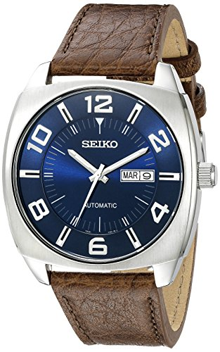 Seiko Men's SNKN37 Stainless Steel Automatic Self-Wind Watch with Brown...