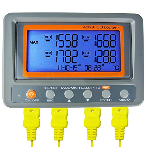 Gain Express AZ Instruments 4 Channel K Type Thermometer SD Card Data...