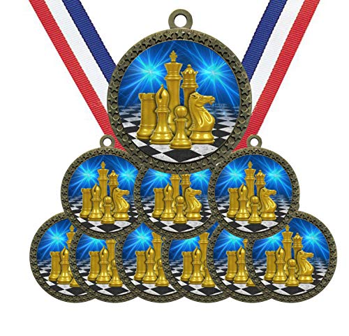 Large 2-1/2 inch Diameter Metal Antique Gold Chess Medals Star Award Trophy...