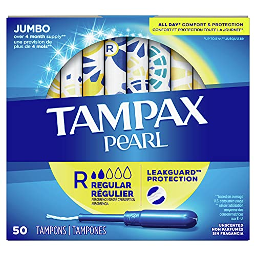Tampax Pearl Tampons with Plastic Applicator, Regular Absorbency, 50 Count,...