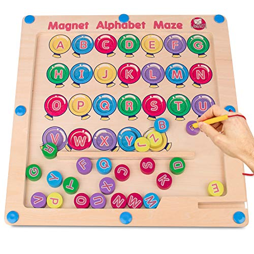 Gamenote Magnetic Alphabet Maze Board, Wooden Matching Letter Game...