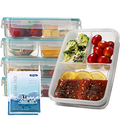 Komax Biokips Set-of-5 Bento Lunch Box | 37-oz Meal Prep Containers...
