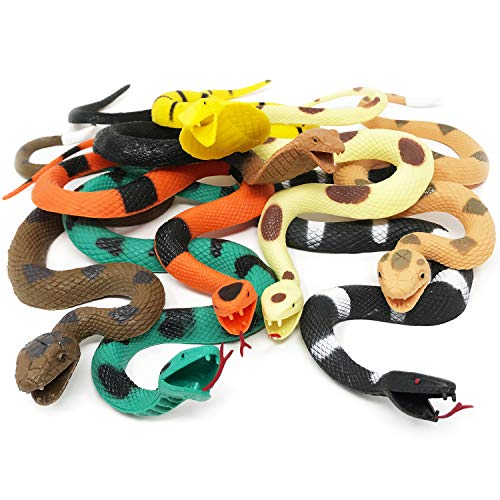 Boley Giant Snakes - 8 Pack 18' Long Realistic Rubber Fake Snake Toy Set -...
