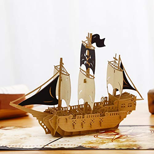 Liif Pirates Ahoy Father's Day Pop Up Card Card, 3D Ship Card, Pop Up Card...