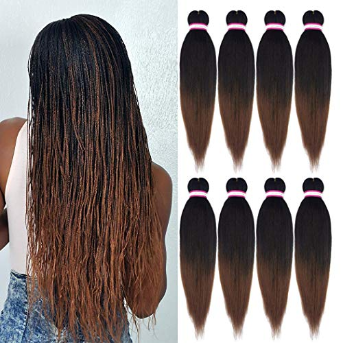 Pre-stretched Braiding Hair Extension Natural Black Brown Professional...