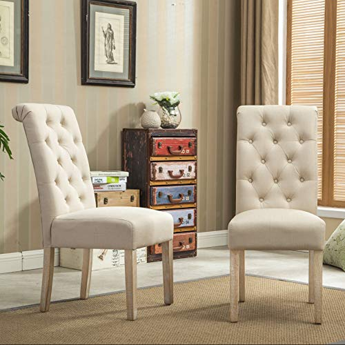 Roundhill Furniture Habit Solid Wood Tufted Parsons Dining Chair (Set of...