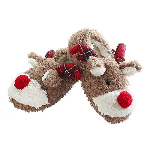 ANNALEMON Christmas Slippers for Women Fuzzy Reindeer House Shoes with...