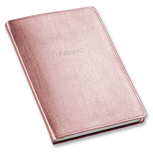 Faux Leather Metallic Desk Journal Ruled, by Gallery Leather, 8'x5.5' (Rose...