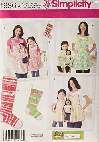 Simplicity 1936 Child's, Women's, and 18'' Doll's Apron Sewing Patterns,...